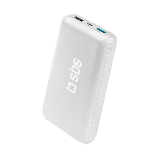 SBS Powerbank 20000mAh Power Bank Schnellladegerät 2 USB 1A und 2.1A Micro USB Eingang Intelligent Charge, 4 Statusanzeigen, USB-Kabel
