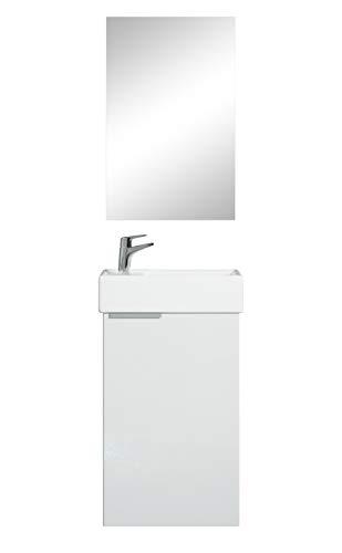 Badezimmer Badmöbel Set Apollo 40cm mit Spiegel - Hochglanz Weiß - Unterschrank Spiegel Waschbecken