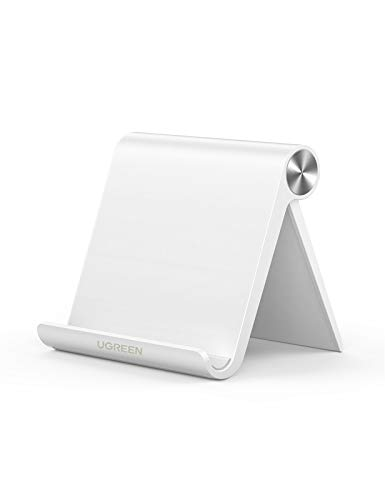 UGREEN Phone Stand Desk Desktop Mobile Holder Adjustable Foldable Portable Video Call Mount Compatible with iPhone 12 11 Pro Max XR XS X 8 7 SE Samsung S20 S10 Note20 Ultra A71 A21s Huawei Sony(White)