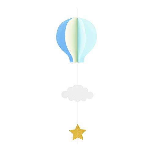 Amosfun Papier Girlande 3D Heißluftballon Form mit Wolken Stern Anhänger Baby Mobile Fenster Wand Hängende Deko für Babyparty Kinderzimmer Deko (Hellblau + Himmelblau + Beige)