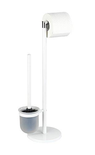 Wenko Stand garnitur Parus Porta scopino, Acciaio, Bianco, 16.5x 25.5x 57cm