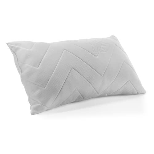 Almohada con Copos de viscoelástica, Almohada de Cama 135 cm, Tejido Strech Transpirable,Funda Color Blanco