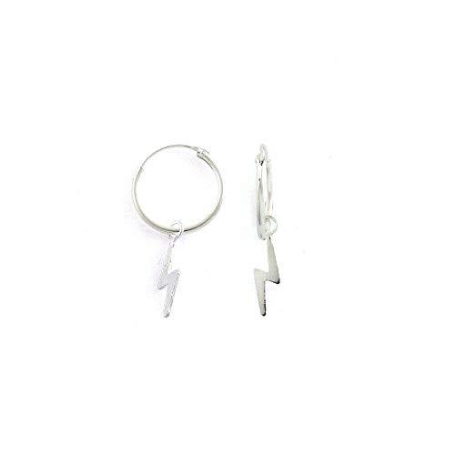 Pendientes de aro de plata de ley 925 con colgante de perno rayo de 12 mm
