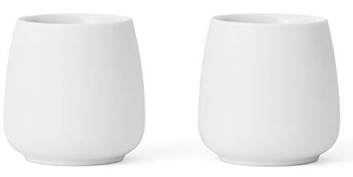 Viva Scandinavia 9102149 Lot de 2 tasses en porcelaine blanche 8 cl, 80 milliliters, Blanc