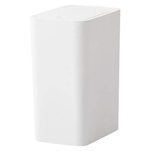 Papeleras Bote de Basura de plástico Push-Lid Touch Papelera de Reciclaje Baño Rectangular de la Sala de Estar con Tapa Contenedor de Basura de Espacio Estrecho Blanco 8 L Cubos de Basura