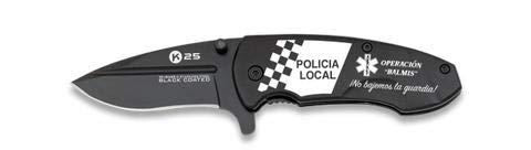 Navaja K25 BALMIS con logo POLICIA LOCAL, hoja de 7 cm y recubrimiento titanio, empuñadura aluminio, ligera para Caza, Pesca, Camping, Outdoor, Supervivencia y Bushcraft + Portabotellas de regalo