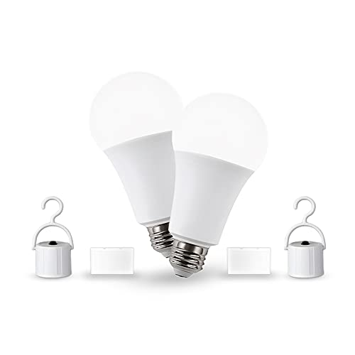 Rechargeable Emergency LED Bulb, CHIPHY A19 Emergency Backup Light for Power Outage, 9W, 3000K, 850Lumens, 60W Equivalent, 4 Hours Working Time, Suitable for Finishing, Camping, Hurricane, Tornado