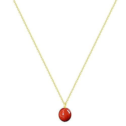 YAHOM Collar chapado en oro de 14 quilates, collar de cornalina para mujer, collar con colgante de gota