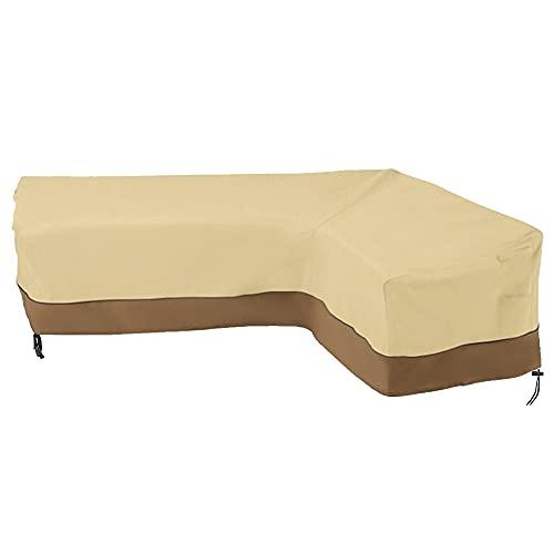 Funda de protección para sofá esquinero de jardín, funda de sofá en forma de L, funda de sofá de jardín impermeable, lona para salón de jardín en ángulo (210D-Right: 264/210 x 81 x 78 cm)