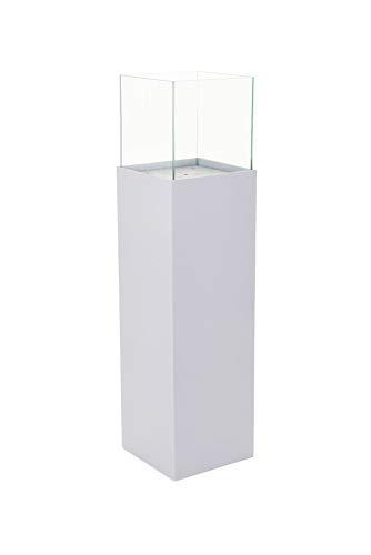 Vivanno Windlicht-Säule Kerzenhalter Deko-Laterne Candela 100 cm hoch, Weiß Matt