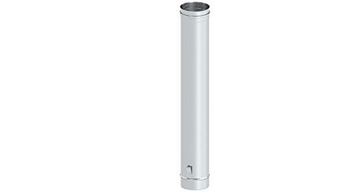 Schornstein - Längenelement 1000 mm mit Ablassschlaufe, 115mm Durchmesser, 0,6mm Wandstärke, Edelstahl