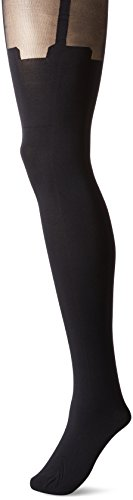 Pretty Polly Women's Super Suspender Tights, Black, One Size