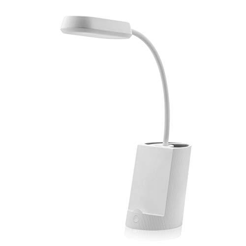 Lámpara de escritorio multifuncional LED de carga enchufable protección ocular titular del teléfono móvil titular botón de atenuación de la lámpara de mesa de aprendizaje (color: blanco)