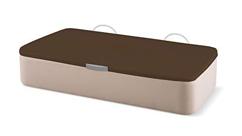 Naturconfort Canapé Abatible Tapizado Apertura Lateral Gran Capacidad Tapa 3D Chocolate Low Cost Beige 80x190cm Envio y Montaje Gratis