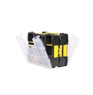 Stanley Sortmaster Doppelorganizer Werkzeugbox leer STST1-71197 – Stapelbarer Werkzeugkasten mit entnehmbare Einsätzen & kombinierbar mit bis zu zwei weiteren Organizern