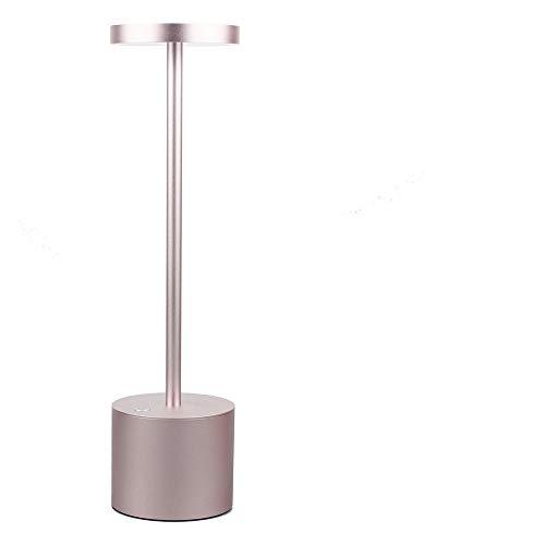 SzMYLED lampada da tavolo elegante lampada da tavolo con protezione per gli occhi, due modalità di illuminazione regolabili, ricarica USB, adatta per comodino, ufficio, cena estiva, Oro rosa, One