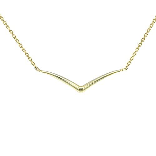 Collar De Oro 9k con Colgante De Tipo V, Joya De Mujer, Cadena Amistad Oro Delicada Estilo Joyería