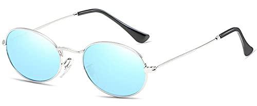 LOPIXUO Gafas de sol Gafas de sol pequeñas con espejo ovalado para mujer, rosa, de lujo, para hombre, gafas de sol, gafas de sol de aleación para mujer, azul plateado