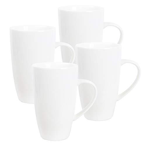 fanquare Weiße Kaffeetasse Set, Kaffeset 4 Personen, Großer Porzellan Becher für Cappuccino, Kaffee, Tee, Kakao, 600ml