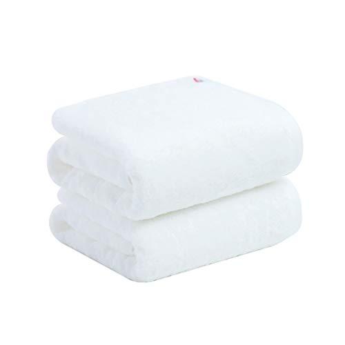 ZRJ para el Hogar Set de 2 Toallas de Baño Blanca Toallitas Estropajos de Secado Rápido Superiores de la Calidad Toallas de Algodón Suave Hotel Beach Baño Gimnasio (Color : White)