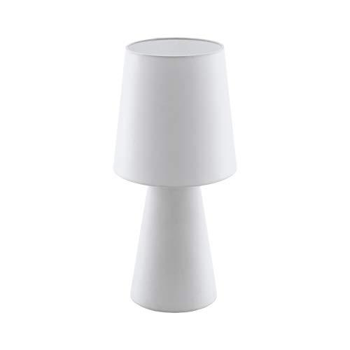 Eglo CARDE - Lámpara de mesa (47 cm de altura, tela, 12 W), color blanco