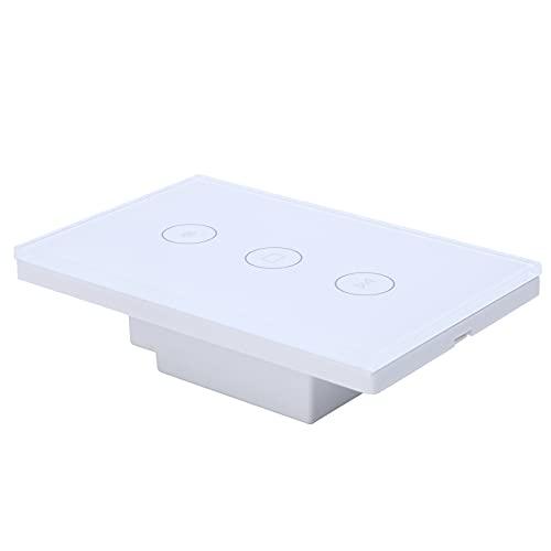Interruptor de cortina WiFi, Control de cortina WiFi Interruptor táctil WIFI 110-240V Tiempo de encendido/apagado para edificio de oficinas(blanco, Transl)