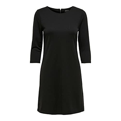 ONLY NOS Damen Kleid Onlbrilliant 3/4 Dress Jrs Noos, Schwarz (Black), 36 (Herstellergröße: S)