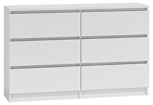 3xEliving Elegante e spaziosa cassettiera Demii 6 cassetti 120cm, colore bianco, perfetta per il soggiorno, l'ufficio, la camera da letto, dimensioni 120 x 38 x 78 cm