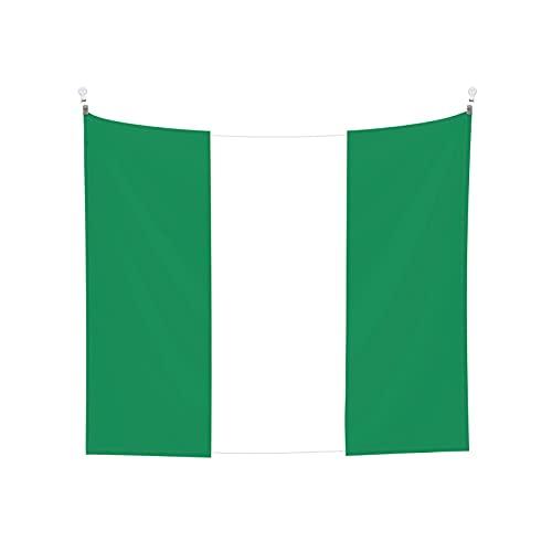 Wandbehang mit Nigeria-Flagge, Boho, beliebt, mystisch, Trippy Yoga, Hippie, Wandteppiche für Wohnzimmer, Schlafzimmer, Wohnheim, Heimdekoration, Schwarz & Weiß Stranddecke