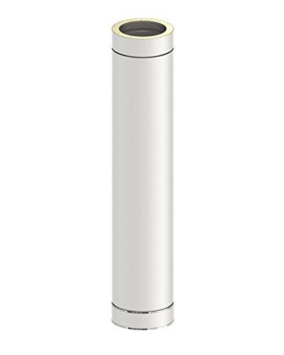 Schornstein - Längenelement DW doppelwandig, 1000mm Länge und 130mm Durchmesser, Innen/Außen je 0,5 mm Wandstärke, Edelstahl