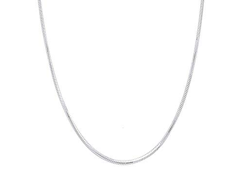 Verona Jewelers Sterling Silver 2MM, 2.5MM, 3MM, 4MM, 5MM Solid Round Snake Chain Necklace- Flexible Snake Chain Necklace, Round 925 Sterling Silver Necklace (24, 2MM)