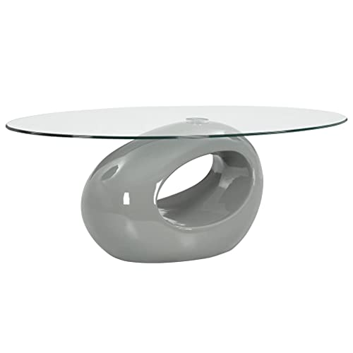LINWXONGQP Material: Vidrio de Seguridad (Superficie) + Fibra de Vidrio (Soporte) Mesa de Centro Superficie Ovalada de Vidrio Gris Brillante