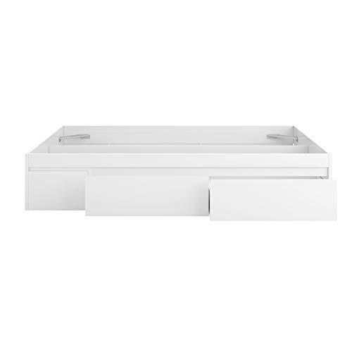 Estructura Cama con 4 Cajones, Cama Doble, Modelo Kendra, Acabado en Color Blanco Artik, Medidas: 156 cm (Ancho) x 196 cm (Fondo) x 37 cm (Alto)
