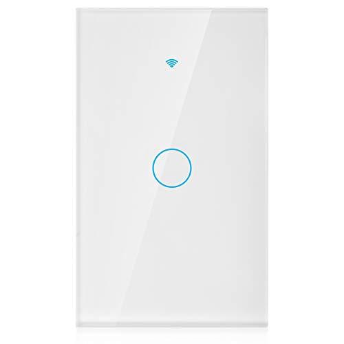 Panel De Interruptores Wifi, La Caja Inferior Del Interruptor WiFi Es ABS V0 Material Ignífugo Voz De Alexa Para Controlar El Interruptor De Pared Interruptor(blanco, Regulaciones de EE. UU.)
