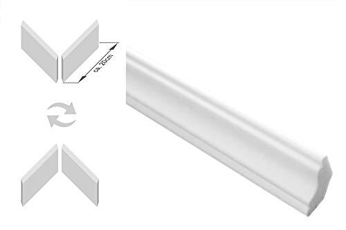 Zierleisten Sparpaket E-23-NK | inkl. vorgefertigte Ecken | leicht und stabil | extrudiertes Styropor | Stuckprofile | modern weiß | dekorativ | XPS | 22 x 22 mm | 20 Meter + 4 Ecken