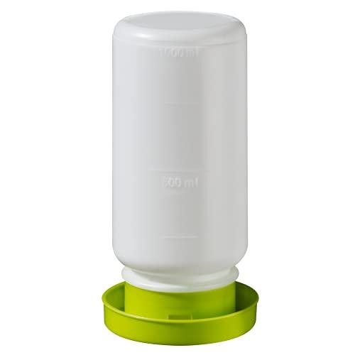 Kükentränke Wachteltränke 1L grün I Tränke für Wachteln und Küken I Wasserautomat Stülptränke Zubehör für Geflügel klein zur Aufzucht