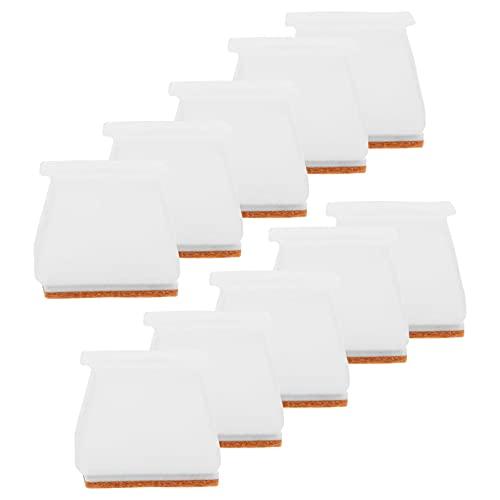 iplusmile 16pcs Square Chair Leg Caps Silicone Furniture Leg Feet Cover Table Leg Cap Floor Protectors No Scratches for Wooden Floor White