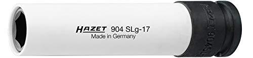 HAZET Steckschlüsseleinsatz (1/2 Zoll (12,5 mm) Vierkantantrieb, mit Kunststoffhülse zum Schutz von Felgen, extra lang: 130 mm, Schlüsselweite: 17 mm) 904SLG-17