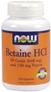 Betaine HCL by NOW Foods - Digestive Support (648mg - 120 Capsules)