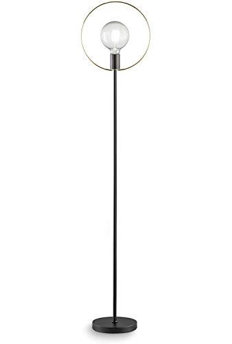 Loxomo - Lampada Ad Anello, 20 X 30 X 144 Cm, Lampada Da Terra Con Anello In Ottone Per Camera Da Letto, Soggiorno, Sala Da Pranzo, Fino A Max.60W, E27, IP20, Nero/Ottone