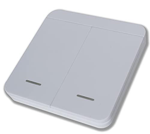 2-Kanal Funk-Innentaster kompatibel zu Tormatic Novoferm 433 MHz - Taster - Drucktaster - Wandtaster für Garagentorantrieb Black Run Novomatic mit Sender 502 522 MAX43-2