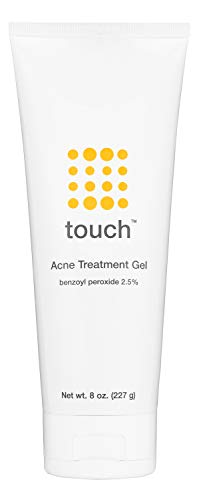 Touch Benzoyl Peroxide 2.5% Acne Treatment Gel Cream - Pimples and Cystic Acne Spot Treatment & Daily Face and Back Medication for Adults & Teens - Goes on Clear Lightweight & Non-Drying - Large 8 oz.
