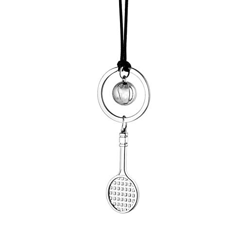 ACEACE Auto Creative Car Pendant Ornament Love Tennis Pallina con Racchetta Interno Automobili Decor Accessori per Auto Accessori Moda Regali (Color Name : Silver)