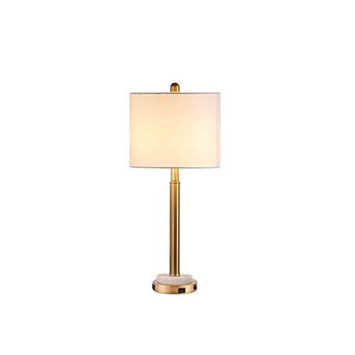Lámpara de noche Lámpara de mesa Lámpara de mesa de metal, construido en los puertos duales USB blanca tela de la cortina de la lámpara mesita de noche Lámparas de dormitorio regalo Lámpara Escritorio