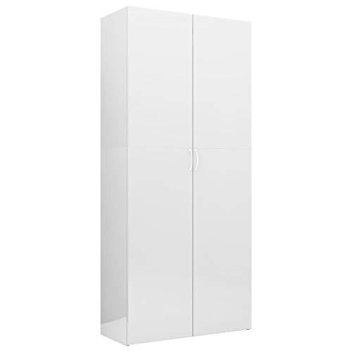 vidaXL Armario Escobero Almacenaje Productos Limpieza Mueble Despensa Almacenamiento Auxiliar Alto 2 Puertas 6 Estantes Blanco Brillo 80x35,5x180 cm