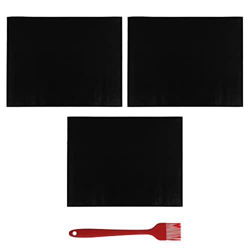 Yardwe 4 alfombrillas para parrilla, resistentes, antiadherentes, con cepillo de salsa, para asar al aire libre, parrilla de gas, carbón, cocina, color negro, 40 x 50 cm