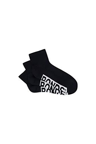 Bonds Men's Logo Quarter Crew Socks (3 Pack), Black, 6-10, Medium