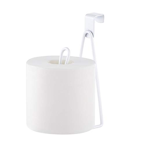 YININE Over The Tank Toilet Paper Holder Stand, Metal Hanging Toilet Roll Tissue Holder Stand Storage Dispenser for RV Camper Small Bathroom, Hang Over The Tank or Cabinet Door, White