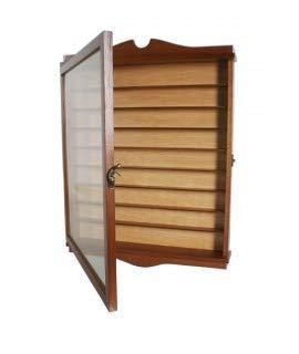 CAL FUSTER Vitrina Porta dedales Madera de Cedro Color Avellana Fondo Claro Expositor para Pared decoración hogar. Medidas: 53x41x6 cm.