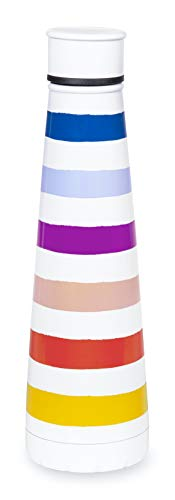 Kate Spade New York Colorful Insulated Stainless Steel Water Bottle, 14.5 Ounce Colorful Double Wall Travel Tumbler with Lid, Candy Stripe